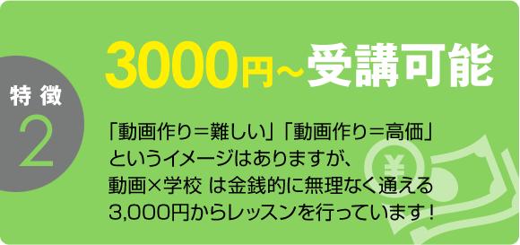 3000円~受講可能